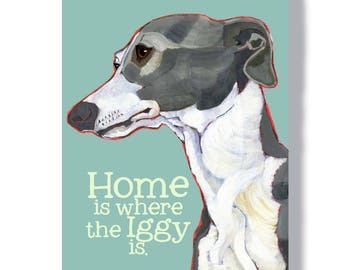 Italian Greyhound wall art metal sign indoor outdoor home decor, Iggy customizable welcome sign, Italian greyhound painting