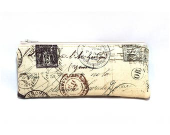 Cosmetic Case, Cord Case, Bridesmaid Gifts, All-Purpose Zipper Case, Tan and Brown Travel Stamps 9072