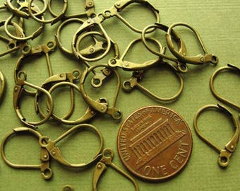 100 pcs - Antiqued brass  leverback earwire hoops 15x10mm,   EWL 709