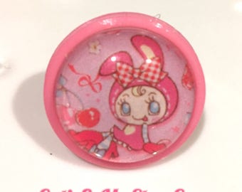 Pink Japanese Bunny Round Bubble Ring