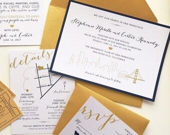 San Francisco City Skyline Wedding Invitation / 5x7 Stationery Card