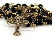 Reserved for shiningmoonstone92 Sacred Heart Rosary Beads Scapular Black Onyx Solid Brass Wire Wrapped Unbreakable Prayer Men Traditional