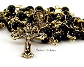 Sacred Heart Rosary Beads Scapular Black Onyx Solid Brass Wire Wrapped Unbreakable Prayer Beads Men Traditional Catholic Five Decade