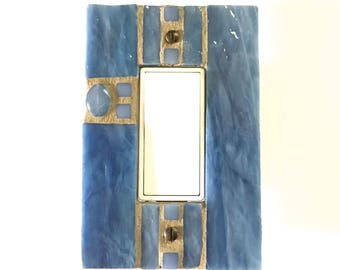 Blue Switch Plate, Decorative Switch Plates, Outlet Cover, Mosaic Switch Plate, Stained Glass Mosaic, Light Switch Cover, Dimmer Cover, 8659