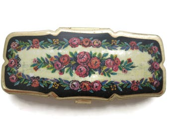 Pill Box - Three Sectioned Floral Design Pill Case