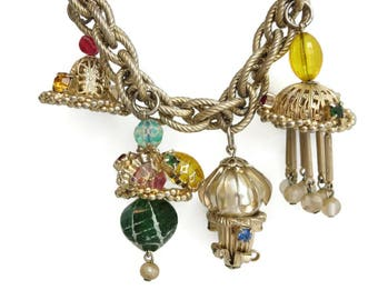 Costume Jewelry Charm Bracelet - Mid Century Chunky Funky Charms Lucite and Metal Beads
