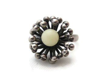 Sterling Silver Flower Ring - Mid Century Modern Jewelry Adjustable Festival Statement Ring Beau
