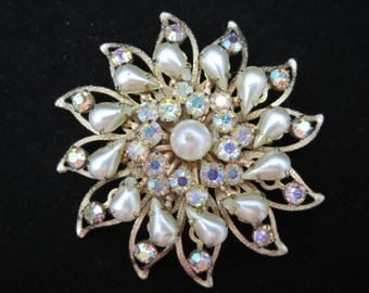 Costume Jewelry Rhinestone and Faux Pearl Brooch, AB Aurora Borealis