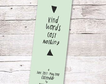 KIND WORDS 2017-2018 calendar by Nicola Rowlands