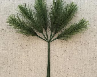 6 Fabric Pine Sprigs From Austria Millinery Leaves NAL-P-1