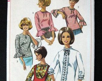 1966 Simplicity pattern 6649 Misses set of Blouses size 12 bust 32