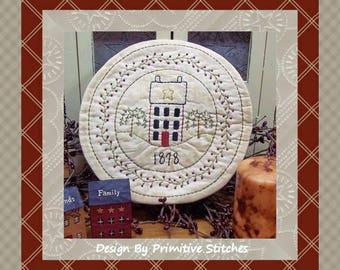 Summer Saltbox Candle Mat by Primitive Stitches-Primitive Stitchery E-Pattern--Instant Download