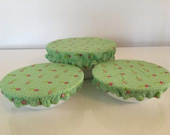 Reusable Food Bowl Container Elastic Picnic Cover Lime Green Dots Flowers Cotton Fabric (3 Piece)