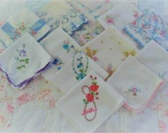 One Dozen Vintage Handkerchiefs-Hankies