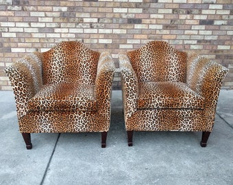 2 LEOPARD print velvet english style club chairs