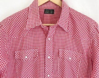 Vintage 70's Checkered Gingham Western Shirt