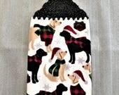 CHRISMAS DOGS And GIFTS Double Layer Crochet Towel, dog lover gift, stocking stuffer, secret santa gift, hostess gift, housewarming, plaid