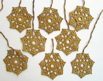 Set of 8 Vintage 1940's Crochet Needlework Shade or Light Pulls, Crochet Ornaments, Snowflake Style Pattern in Butternut Brown Color