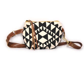 festival pack • fanny pack - sling bag - bum bag • black and white geometric print - waxed canvas • festival bag - gifts under 50
