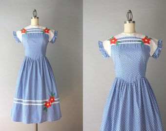 1940s Dress / 40s Polka Dot Cotton Dress / Vintage 1930s 1940s Floral Appliqué Day Dress XS S extra small
