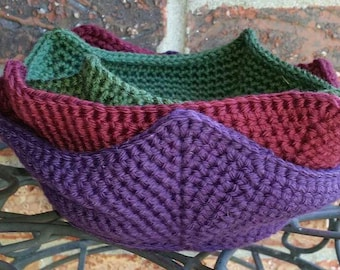 Crochet Bowl Covers, Microwaveable Cotton Bowl Holders, Microwave Hot Pad, Pot Holder, ready to ship