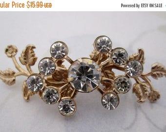 ON SALE- vintage cut crystal rhinestone gold tone flower spray brooch pin - j5852