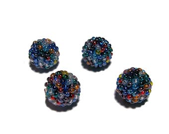 Blue tone color mix beaded beads handmade 12mm beads 4pcs