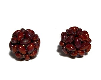 MiniDuo Beads Beaded Beads Opaque Red Bronze Luster 12mm 2pcs