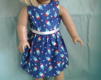 Red White and Blue Popsicle  Dress / Doll Clothes fits American Girl doll or other 18 inch doll
