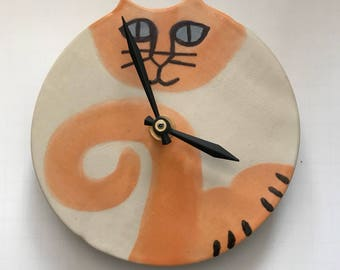 "Wall decor clock: Grey points Blue eyed Kitty Cat 5.5"" decor handmade whimsical feline theme designer kitty art Pottery Pet resort art"