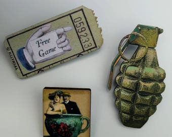3 x Wooden Brooches - Ticket, Grenade, Teacup (SET A9)