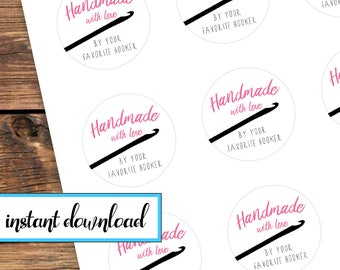 Printable Sticker Set - Handmade with love by your favorite hooker - crochet gift stickers - avery round labels - pink black white
