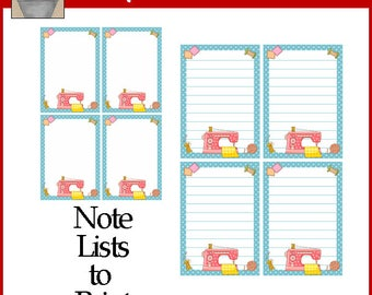 Sewing Machine Notepads - Ready To Print
