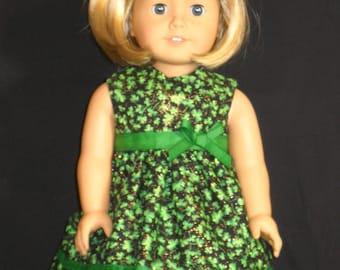 St Patricks Day Dress American Girl 18 inch Doll Dress Handmade
