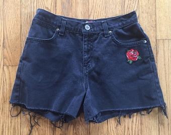 Vintage 90s Black High Waist Denim Cut Off Shorts - Rose Patch- 28 inch waist