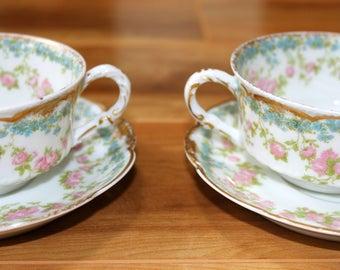 Vintage 2 Haviland limoges roses teacups with 2 extra saucers 271