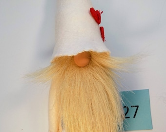 Nordic gnome, tomte, wizard, wool felt, faux fur, blonde beard, art doll, gnomes, wood hearts, gnome, Christmas gnome