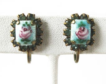 Vintage Guilloche Enamel Rose Earrings with Sparkly Blue Rhinestones / Petite Gold Tone Metal / Screw Back / Costume Jewelry / Gift for Her