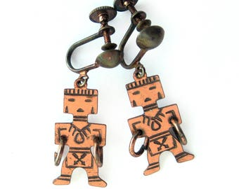 Native American Hoop Dancer Earrings / Copper Earrings / American Indian / Vintage Jewelry / Boho Chic / Screw Back / Southwest Style