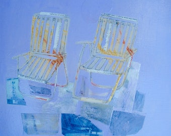 EMERY original painting chairs 'landscapes lend support to their conversations' portrait outsider expressionism