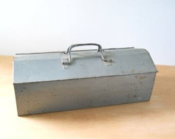 Vintage Industrial Tool Box • Silver Large Removable Tray • Double Top Opening Metal Tool Box