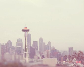 SALE Space Needle photography, downtown Seattle skyline photograph, grey purple gold cityscape Washington Pacific Northwest, large home deco