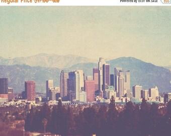 SALE Los Angeles photography, the Big City, downtown skyline California, urban cityscape architecture buildings mountains, i love LA, unisex