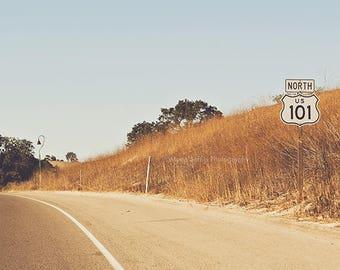 travel photography, California 101 North, Pacific Coast, mustard yellow, landscape, modern decor, freeway sign, boys room, orange, road