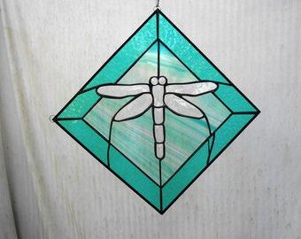 Stained Glass Panel, Suncatcher, Glass Yard Art, Beveled Dragonfly Garden Flag, Unique Garden Decor, Handmade Glass Window Treatment