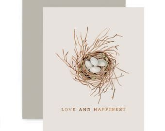 Love and Happinest Greeting Card - Illustrated Birds Nest, Love, Happiness, Easter, Anniversary, Everyday, New Baby Card
