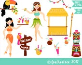 Digital Clipart - Tiki Bar - Hawaii - Luau Party - Hula Themed - 300 dpi JPEG and PNG - Instant Download