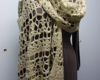 Crochet Shawl in Mohair Yarn Fancy Pattern Sage Green