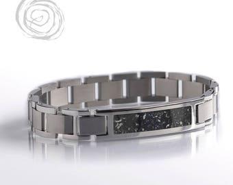Black Stardust Bracelet, Meteorite And Stainless Steel Bracelet Set, Space Jewelry
