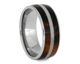 Honduran Rosewood Ring With Bright Deer Antler, Titanium Wedding Band, Masculine Hunter Ring